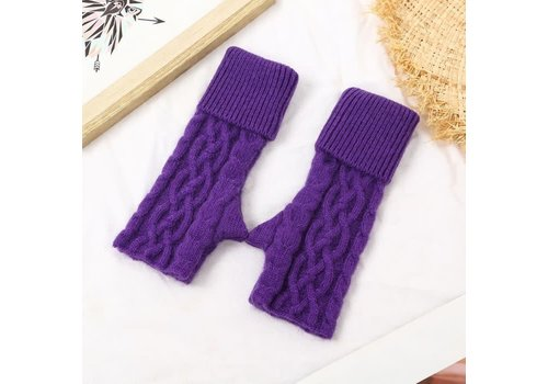 Peach Accessories SDN101 Purple Knitted Fingerless gloves