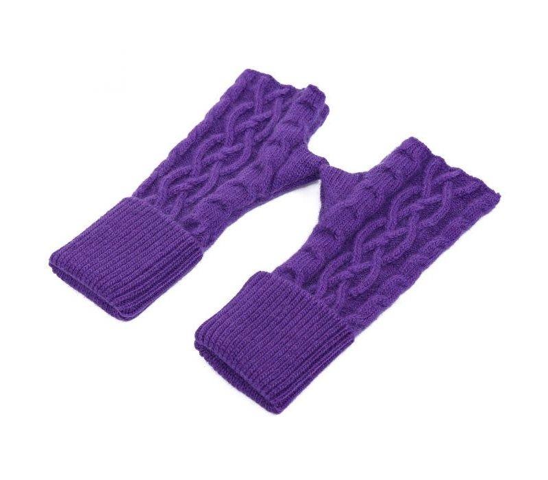 SDN101 Purple Knitted Fingerless gloves