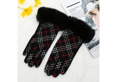 Peach Accessories HA208 Plaid Gloves with fur cuff in Black