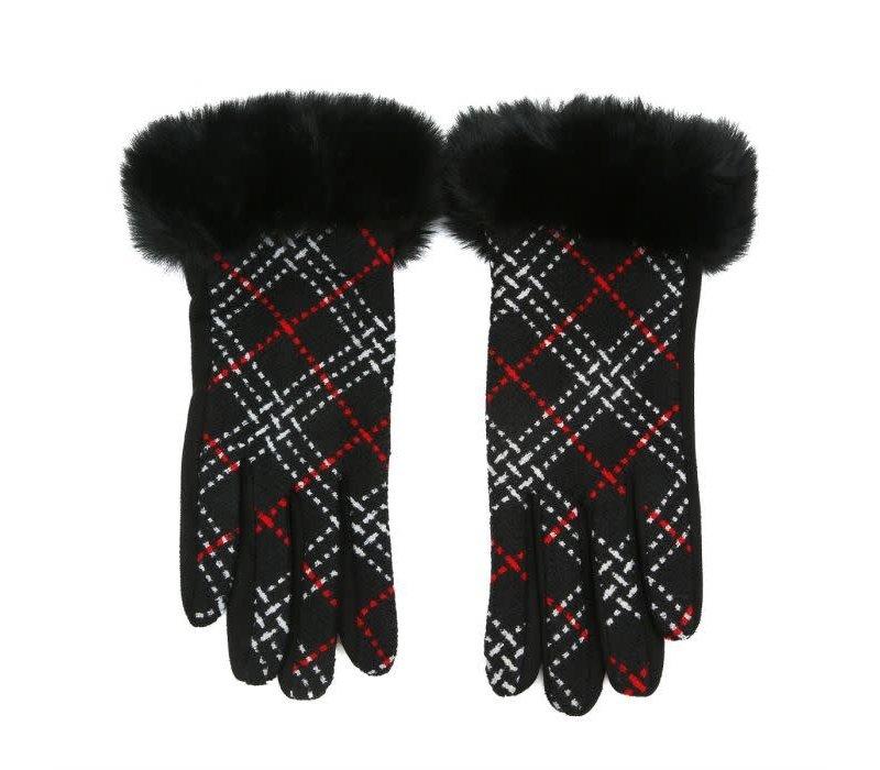 HA208 Plaid Gloves with fur cuff in Black