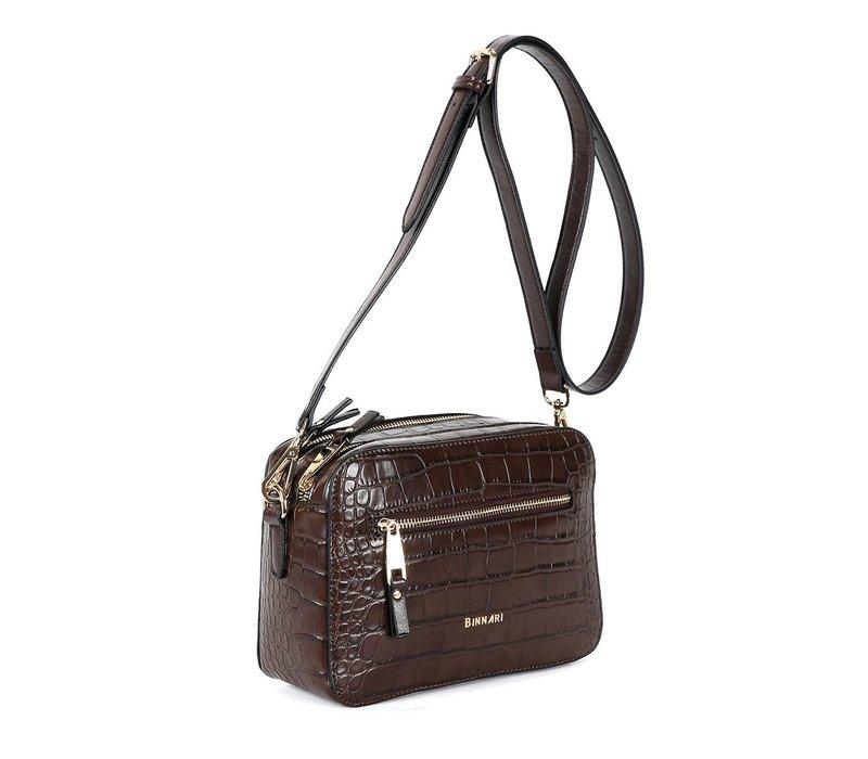 BINNARI 18852 Brown Croc Body Bag