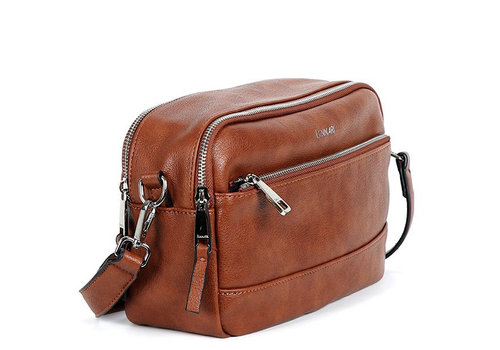 BINNARI BAGS BINNARI 18901 Tan Double Zip Shoulder Bag