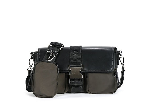 BINNARI BAGS BINNARI 18840 Khaki/Black Glossy Vinyl Bag