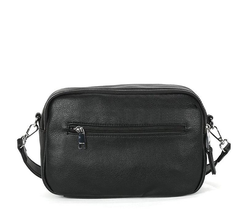 BINNARI 18901 Black Double Zip Shoulder Bag