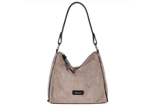 BINNARI BAGS BINNARI 18802 Taupe Suede Shoulder Bag