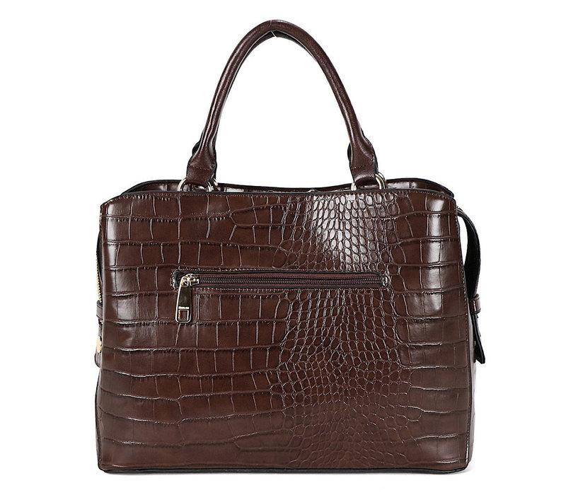 BINNARI 18851 Brown Croc Work Bag