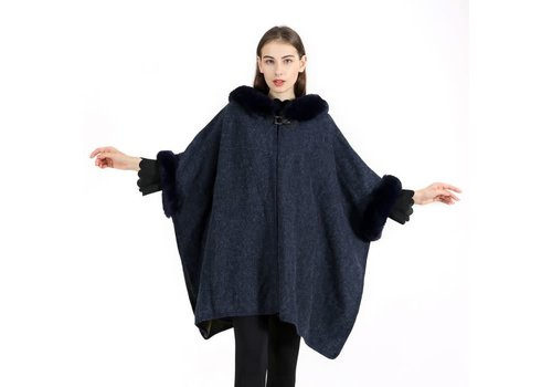 Peach Accessories PE106 Navy warm Poncho with Hood