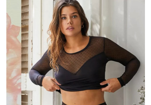 Ysabel Mora Ysabel Mora Black Lace Sweetheart Top