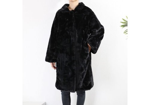 Peach Accessories PE220 Black Faux Fur Teddy Coat