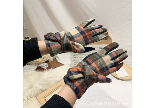Peach Accessories HA223 Tartan Gloves with Bow