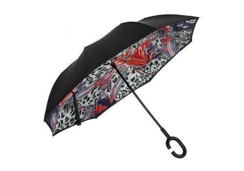 Peach Accessories F921-5 Leopard Leaves Upside down Umbrella