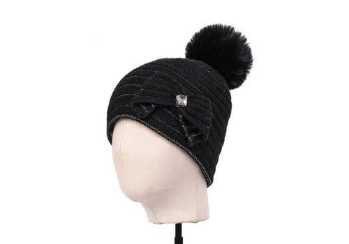Peach Accessories SDN98 Black Cosy Pom Pom Hat