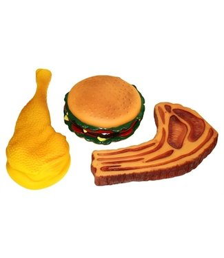 Happy pet Happy pet vinyl hamburger kotelt of kippenpoot assorti