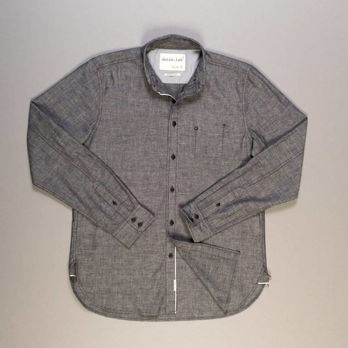 Denim.Lab Denim.Lab Hidden Shirt Grey Chambray