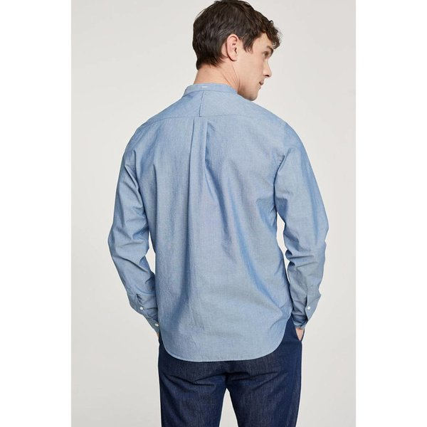 Closed Collarless Shirt Mid Blue