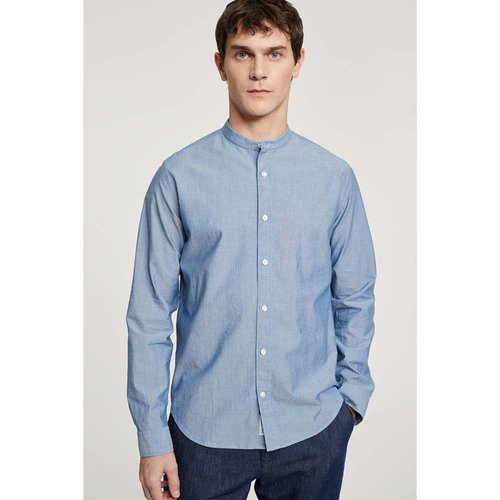 Closed Closed Collarless Shirt Mid Blue