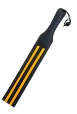 Tapette en cuir noir à rayures jaunes