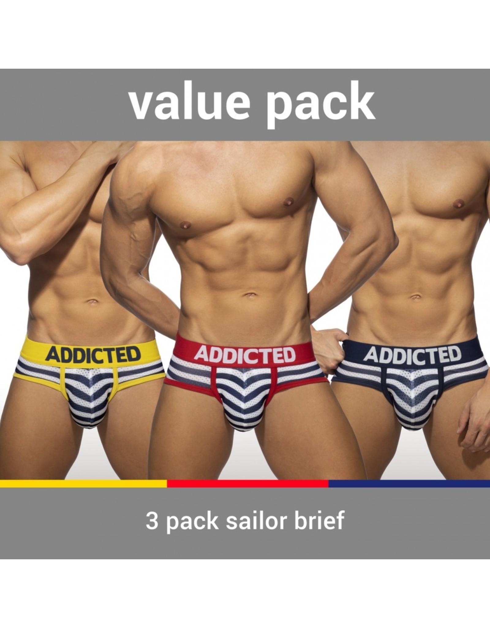 Addicted ADDICTED Three Pack Sailor Push up Brief