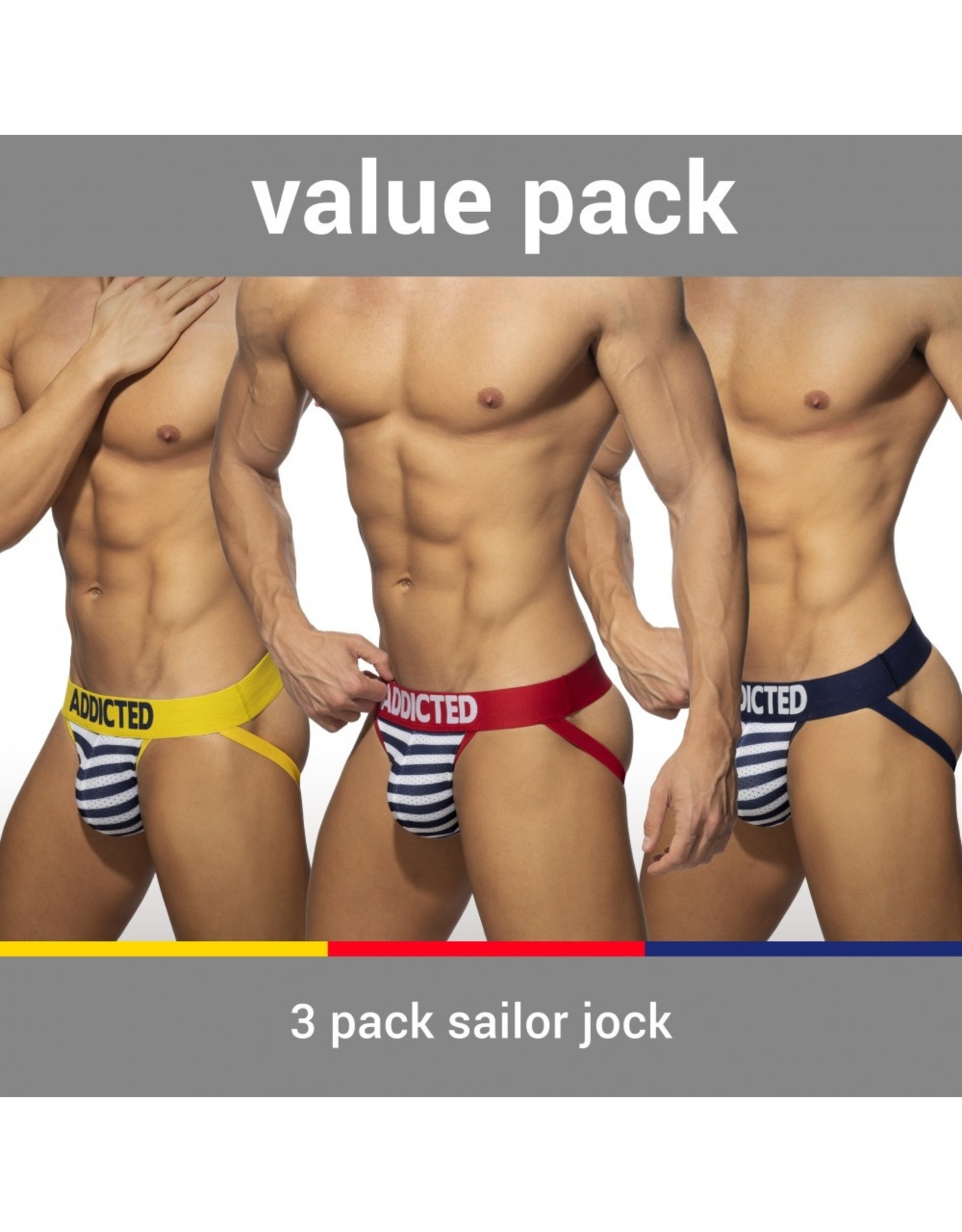 Addicted ADDICTED Three Pack Sailor Push up Jockstrap