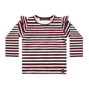 Your Wishes Stripes - Wine | Ruffle Shoulder Top