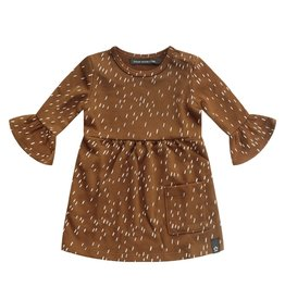 Your Wishes Rainy Camel Ruffle Dres