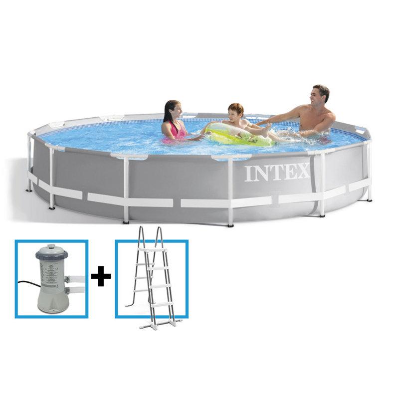 Intex Prism Frame Pool 366x99 cm met pomp grey