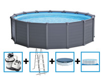 Graphite Panel Pool 478x124 cm + zandfilter en acc.