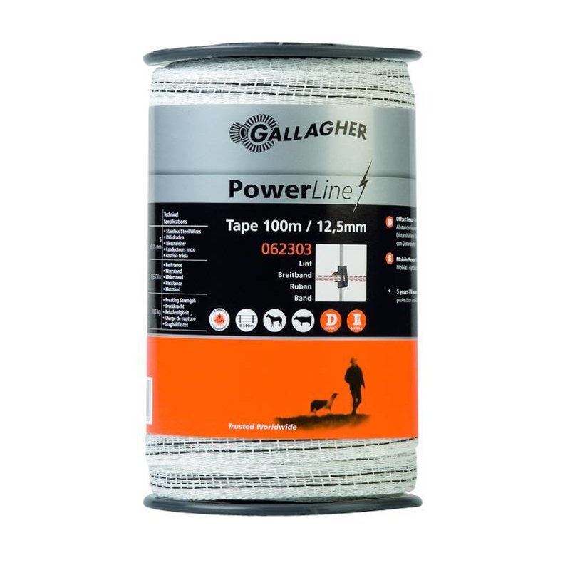 Gallagher PowerLine lint 12,5 mm wit 100 m