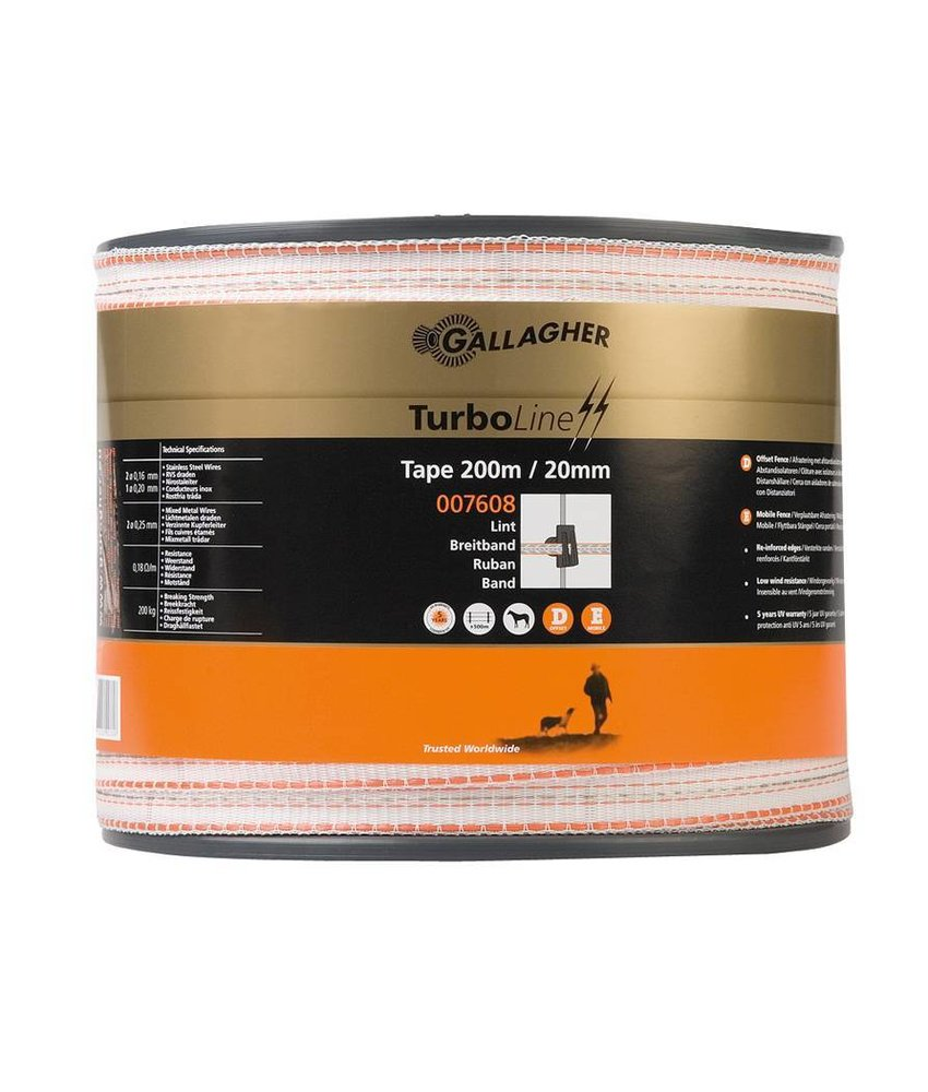 Gallagher TurboLine lint 20 mm wit 200 m