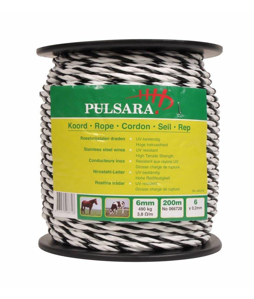 Pulsara Koord wit 6 mm 200 m 6 RVS draden