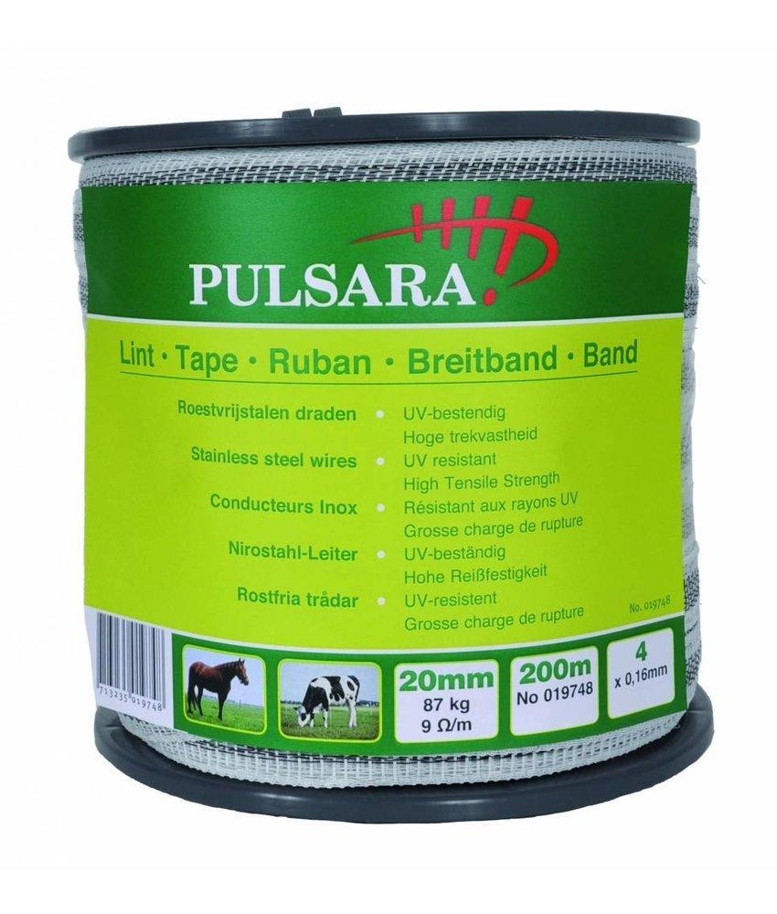 Pulsara Lint wit 20 mm 200 m 4 RVS draden