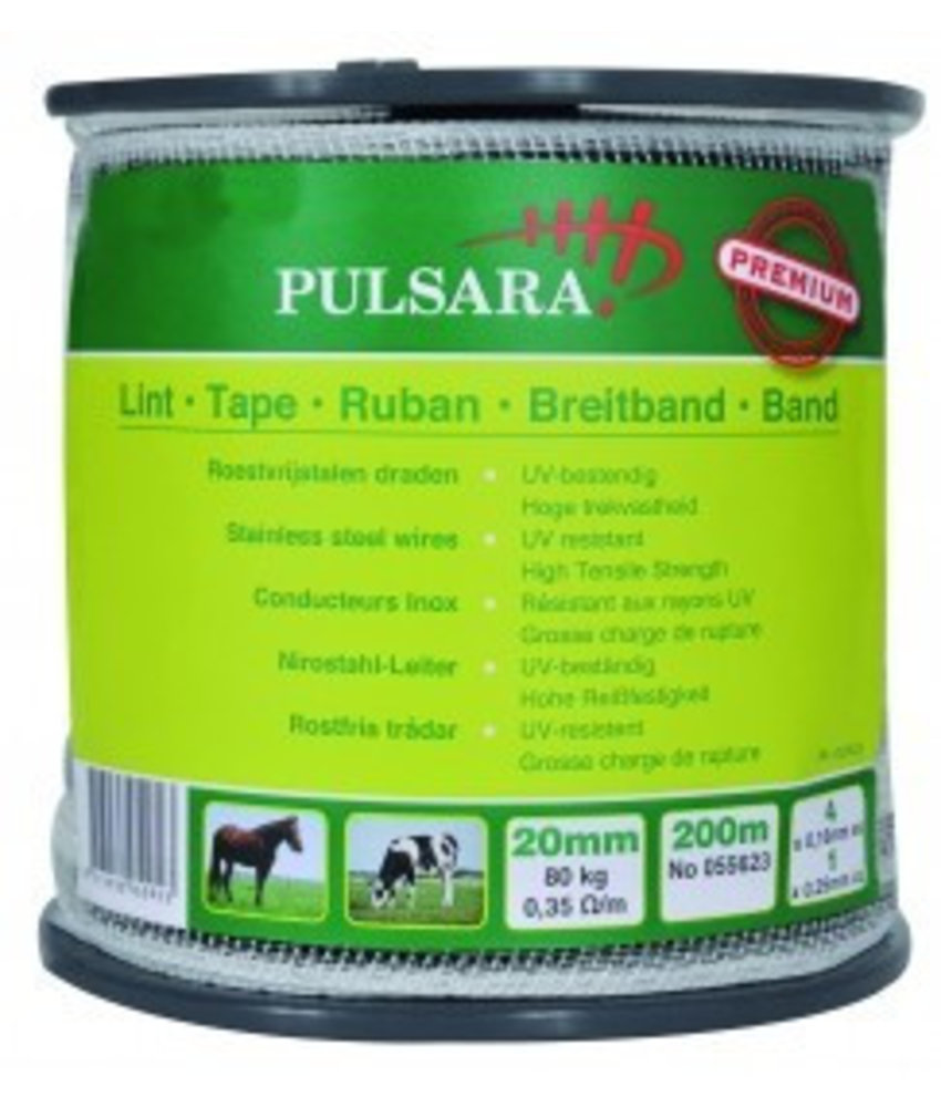 Pulsara Lint wit 20 mm 200 m 4 RVS draden + 1 koperdraad