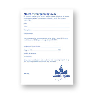 Nacht Visvergunning Valkenburg 2020