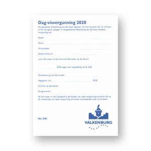 Gem. Valkenburg a/d Geul Dagkaart 2021 Visvergunning Valkenburg