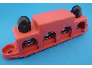 Bus-bar 4-voudig rood + kap