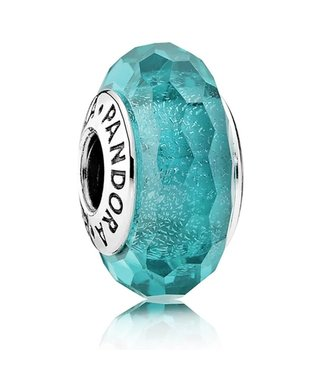 Pandora Abstract with faceted iridescent deep teal Murano glass 791655