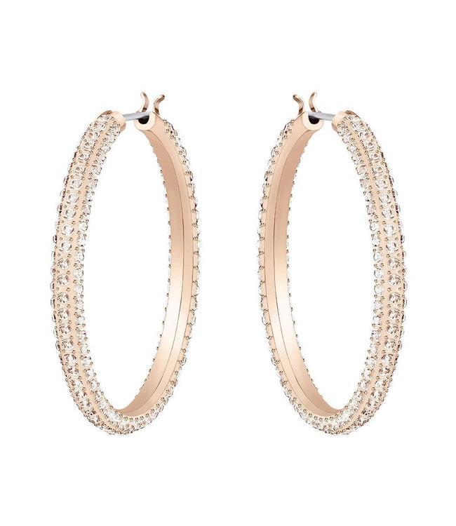 Swarovski Stone pierced earrings Hoop rose gold 5383938