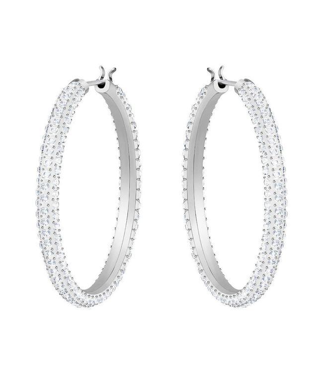 Swarovski Stone pierced earrings Hoop silver 5389432