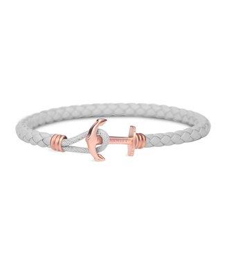 Paul Hewitt Anchor leather bracelet phrep lite ip rose gold grey PH-PHL-L-R-Gr