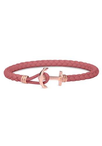 Paul Hewitt Anchor Leather Bracelet Rose Gold Raspberry PH-PHL-L-R-RB