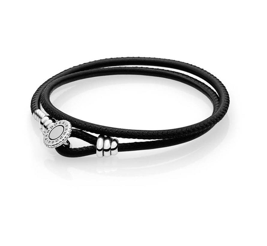 Leather bracelet double black 597194CBK