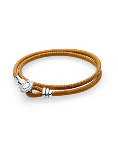 Pandora Silver leather bracelet double golden tan