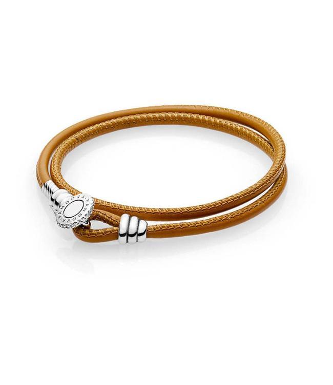 Pandora Silver leather bracelet double golden tan