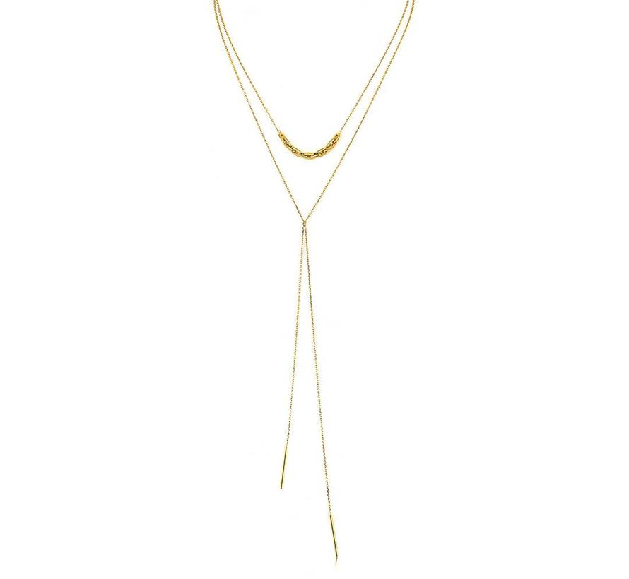 Links Lariat necklace gold N004-02G
