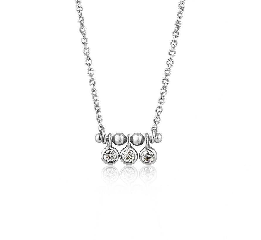 Touch of Sparkle Tripple Stud necklace silver N003-03H