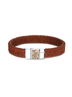 See You Gedenksieraden armband with Ash BG 008 Silver/Leather