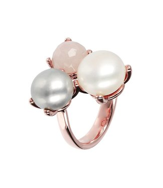 Bronzallure Fancy ring with Button Cultured Pearls WSBZ01095RQ-PRL