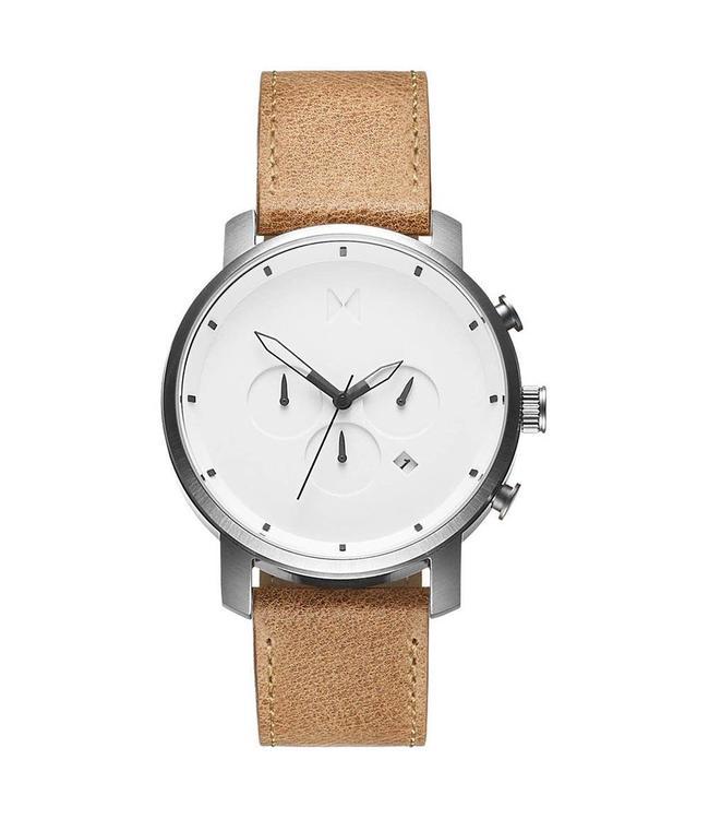 MVMT Chrono Wit/Caramel heren horloge MC01WT
