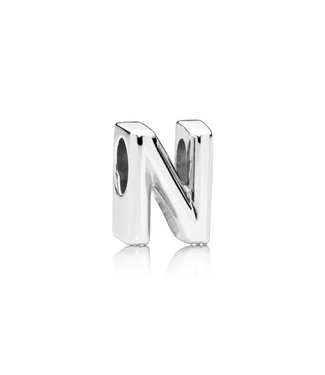 Pandora Letter N charm in sterling silver with heart pattern - Sterling silver one size