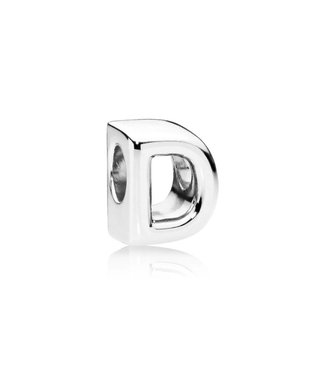 Pandora Letter D charm in sterling silver with heart pattern - Sterling silver one size